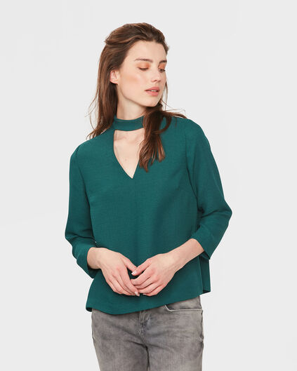 DAMES V-NECK BLOUSE Groen