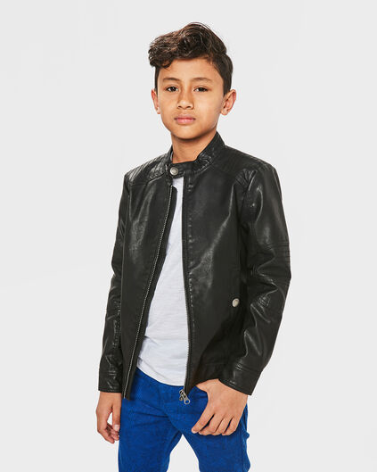 JONGENS FAUX LEATHER BIKER JACKET Zwart