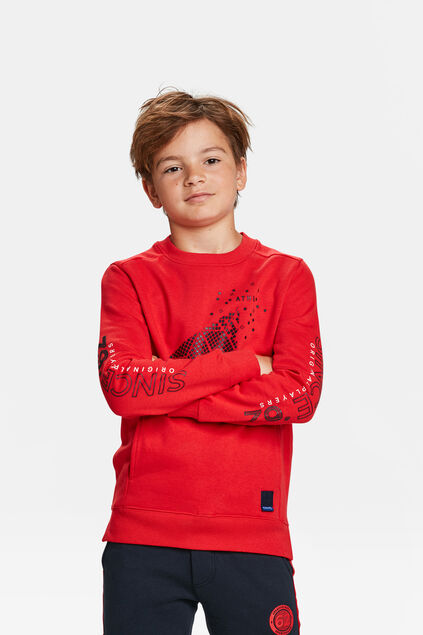 JONGENS SPORT PRINT SWEATER Felrood