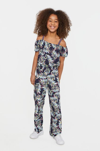 Meisjes jumpsuit met bladerendessin All-over print