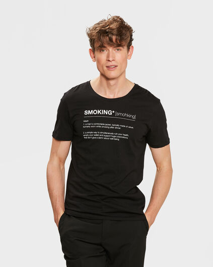 HEREN SMOKING PRINT T-SHIRT Zwart
