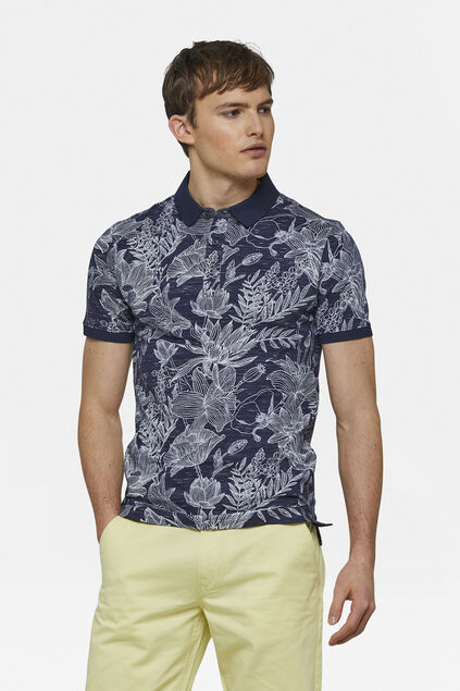 Heren bloemenprint polo Marineblauw