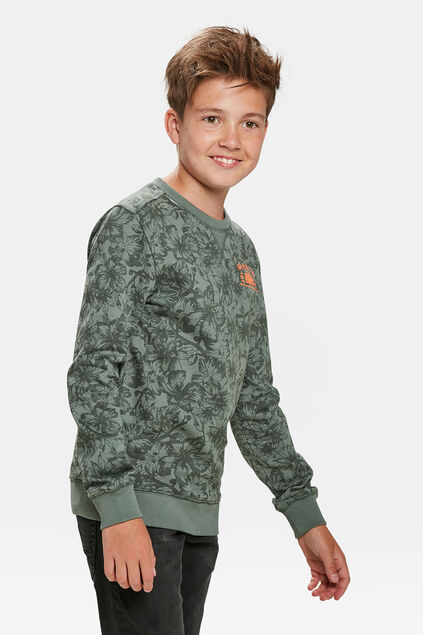 JONGENS BLOEMENPRINT SWEATER Legergroen