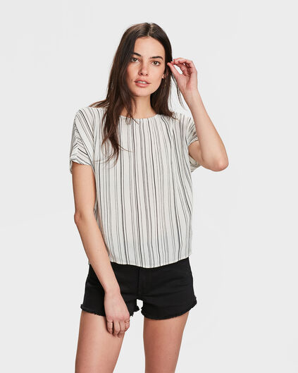 DAMES BOXY FIT GESTREEPTE TOP Wit