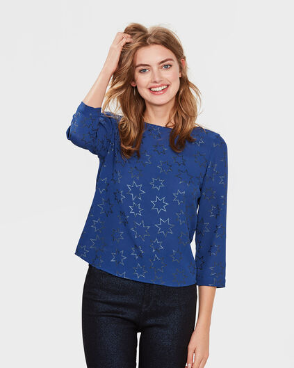 DAMES STAR PRINT TOP Indigo