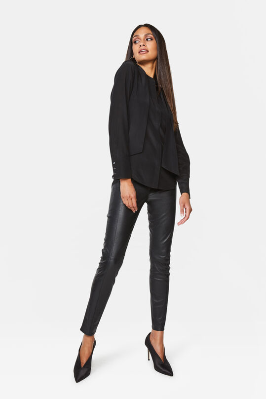 Dames super skinny fit legging van leer Zwart