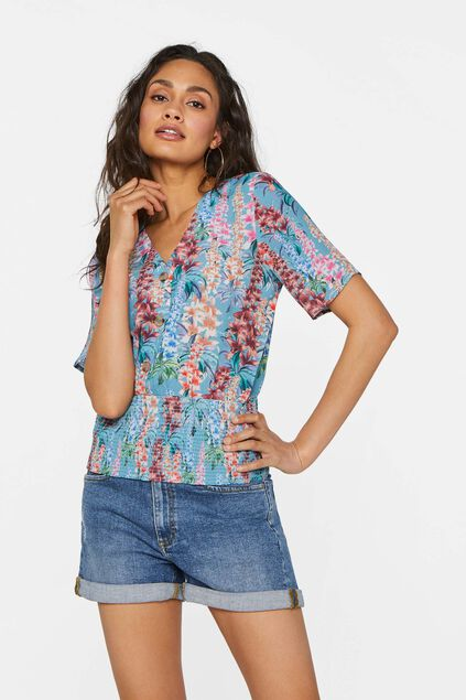 Dames blouse met smokwerk Multikleur