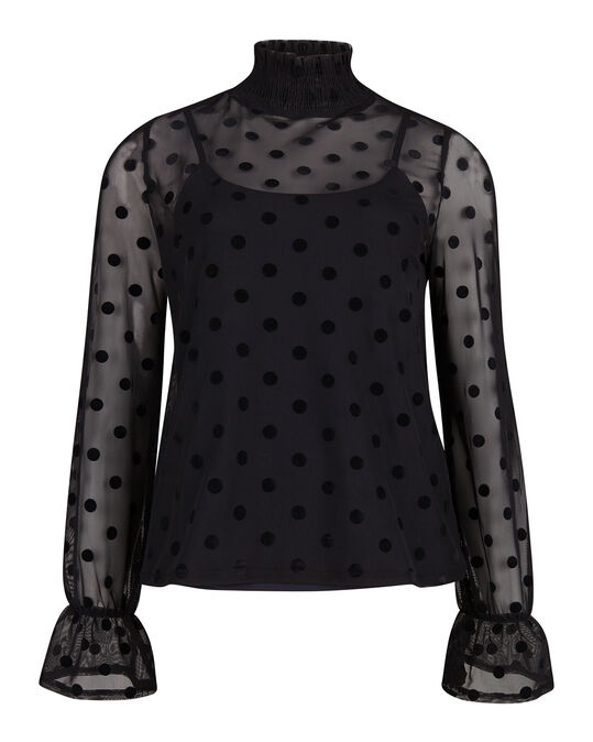 DAMES MESH DOT PRINT TOP Zwart