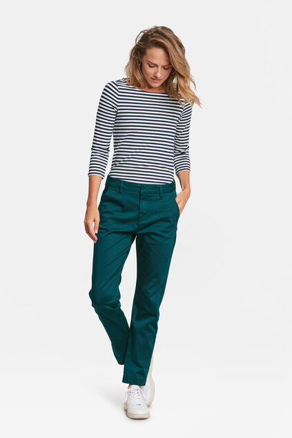 DAMES SLIM FIT HIGH STRETCH CROPPED CHINO Donkergroen