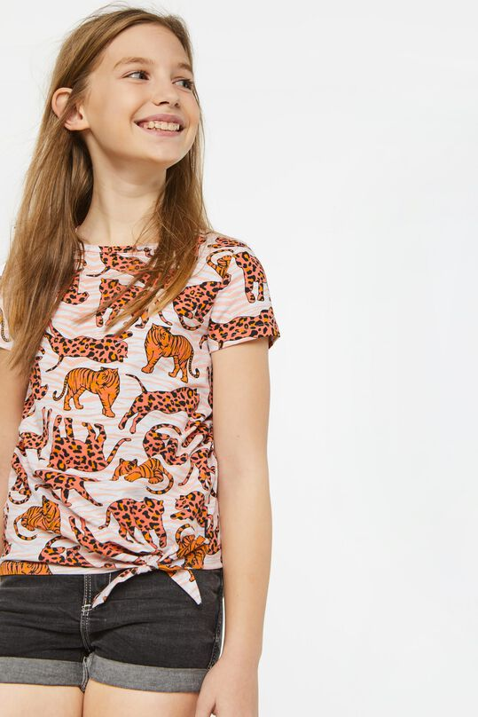 Meisjes T-shirt met dessin en knoopdetail All-over print