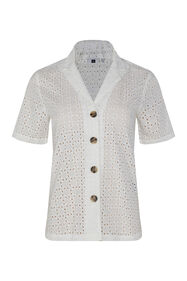 Dames blouse met broderie anglaise_Dames blouse met broderie anglaise, Wit
