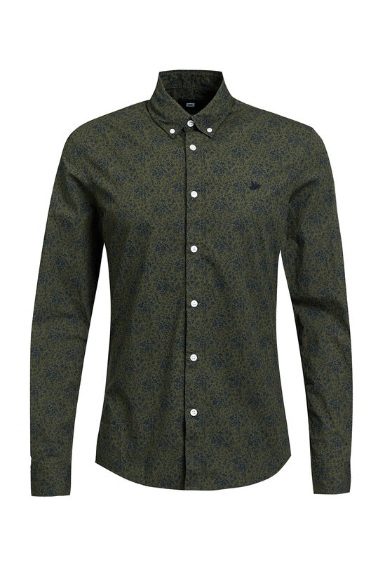 Heren slim fit overhemd met bloemendessin All-over print