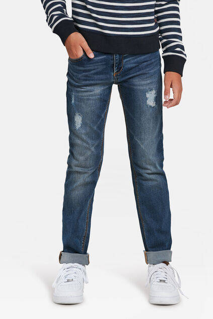 JONGENS SLIM FIT RIP EN REPAIR SUPERSTRETCH JEANS Blauw