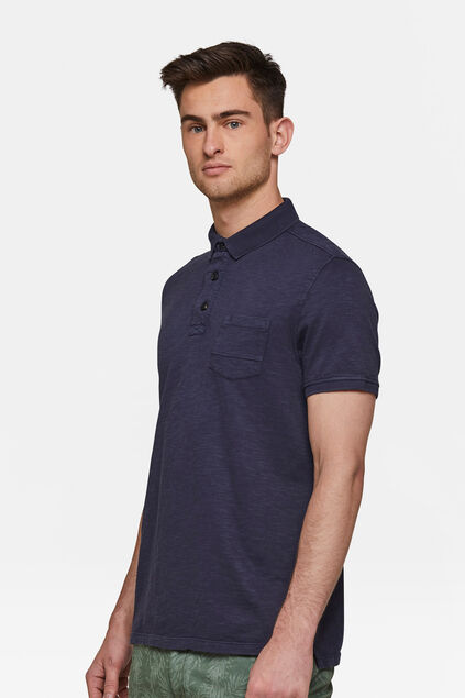 Heren acid wash polo Donkerblauw
