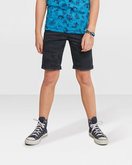 JONGENS REGULAR FIT ARMY PRINT SHORT Zwart