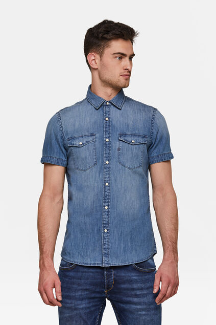 Heren Slim Fit denim overhemd Lichtblauw