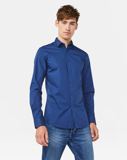 Heren slim tall fit overhemd Indigo