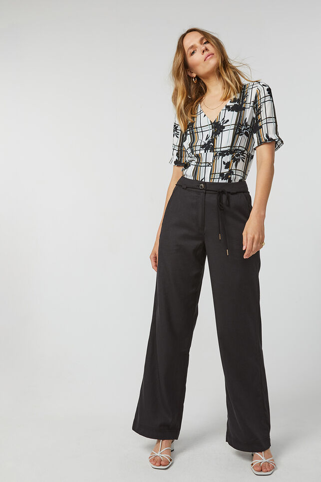 Dames relaxed fit pantalon Zwart