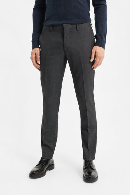 Heren slim fit pantalon, Tom Donkergrijs