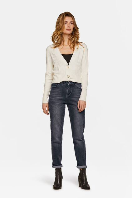 Dames high rise girlfriend comfort stretch jeans Zwart