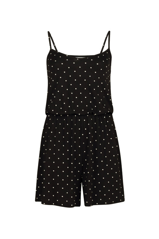Dames stippenprint jumpsuit Zwart
