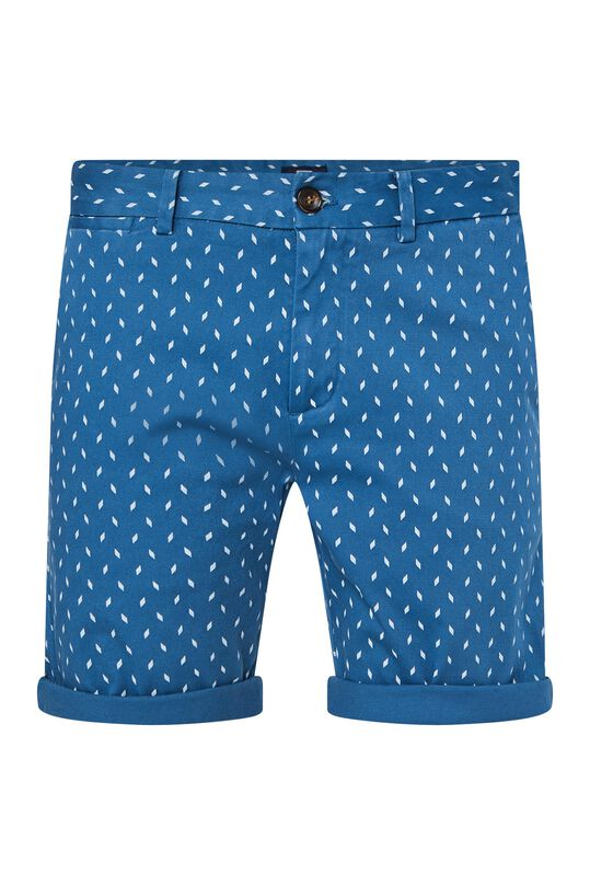 Heren chinoshort met stretch en dessin All-over print
