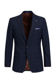 Heren slim fit geruite blazer, Virgil_Heren slim fit geruite blazer, Virgil, Donkerblauw