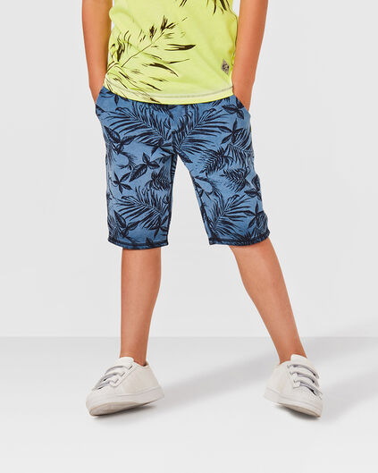 JONGENS LEAVE PRINTED SWEAT SHORT Blauw