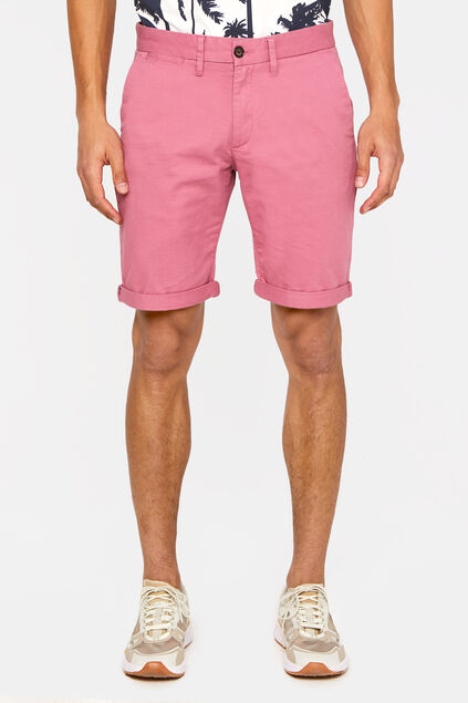 Heren slim fit chinoshort met stretch Roze