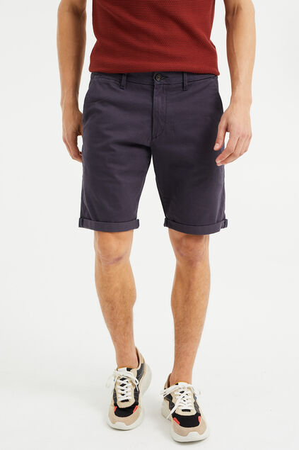 Heren slim fit chinoshort met stretch Grijsblauw