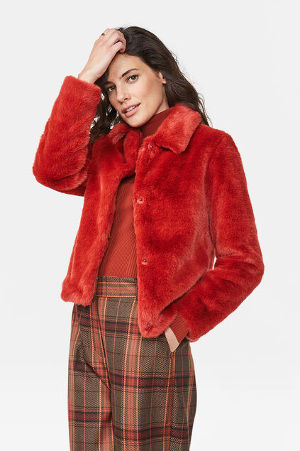 Dames faux fur jas Felrood