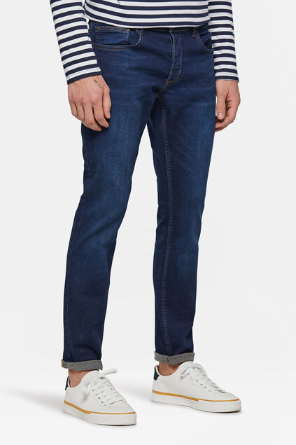 Heren slim tapered comfort stretch jeans Donkerblauw