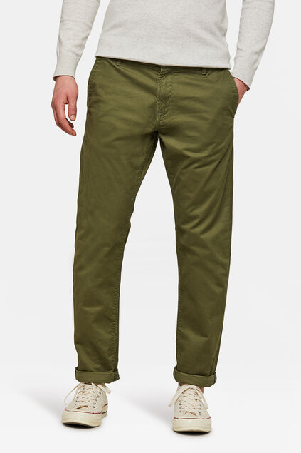 Heren regular tapered chino Legergroen