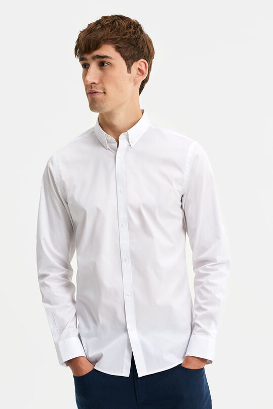 Heren slim fit overhemd met stretch en button-down kraag Wit