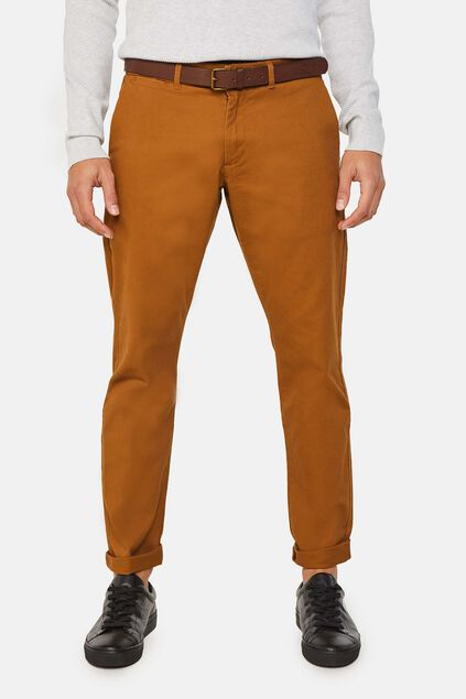 Heren effen slim tapered chino Kaneelbruin