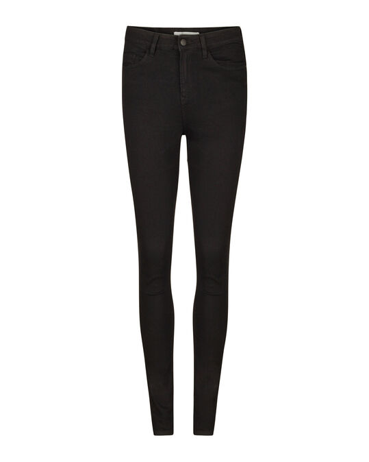 Dames high rise skinny comfort stretch jeans Zwart