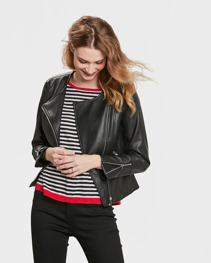 DAMES LEATHER LOOK JACKET Zwart