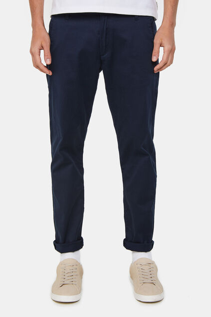 Heren slim fit effen chino Donkerblauw
