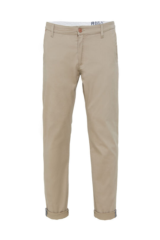 Heren uni slim fit chino met stretch Beige