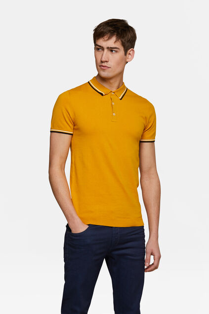 Heren knit polo Geel