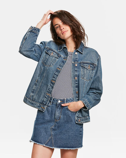 DAMES OVERSIZED DENIM JACKET Donkerblauw