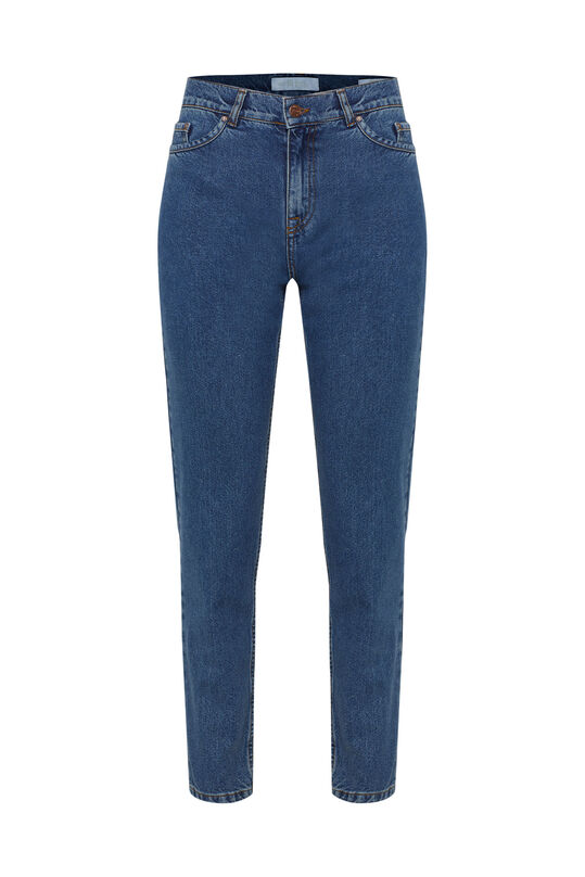 Dames high waist tapered jeans Blauw