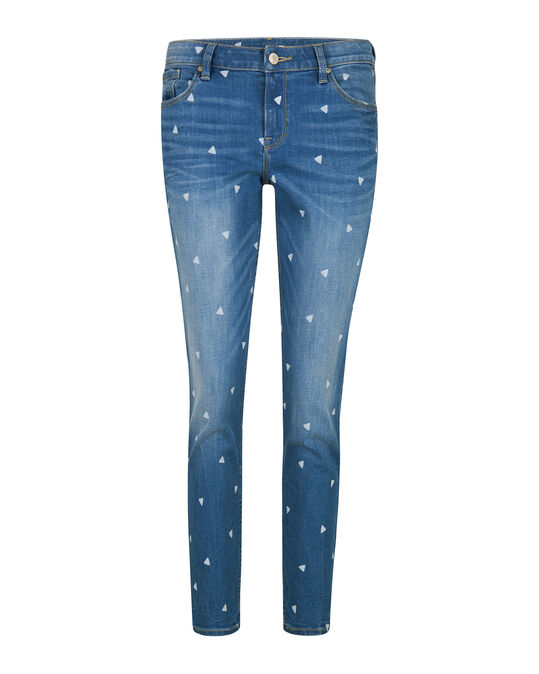 DAMES SKINNY FIT TRIANGLE PRINT CROPPED JEANS Blauw