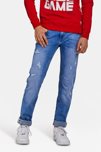 Jongens slim fit jog denim jeans. Blauw