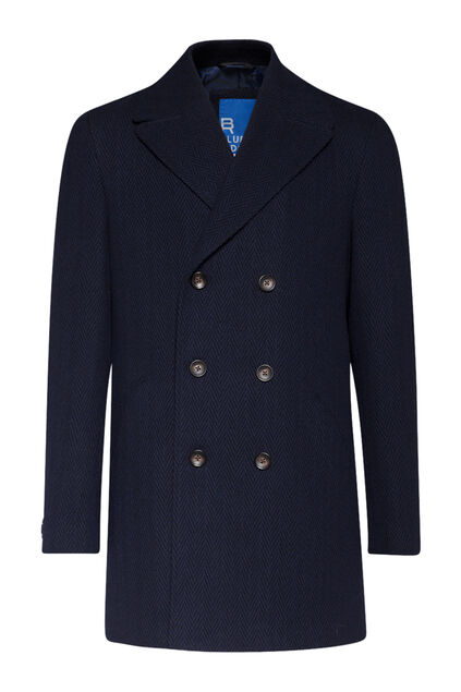 Heren double breasted overcoat Indigo