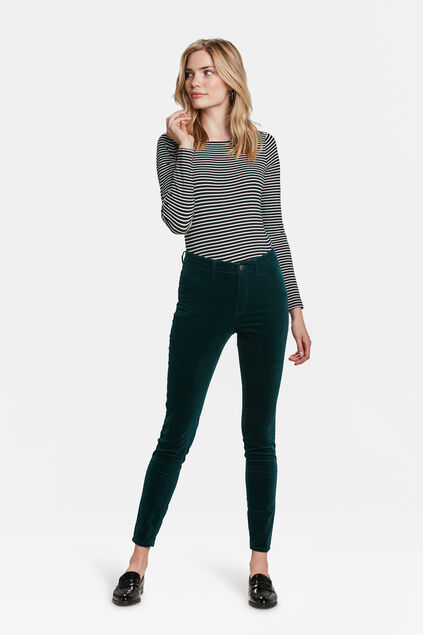 DAMES HIGH RISE SUPER SKINNY HIGH STRETCH VELVET JEANS Mosgroen