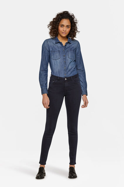 Dames mid rise skinny jeans Marineblauw