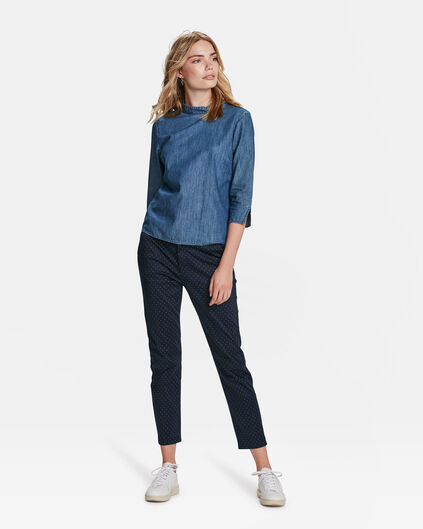DAMES SLIM FIT CROPPED GRAFISCHE DESSIN CHINO Marineblauw