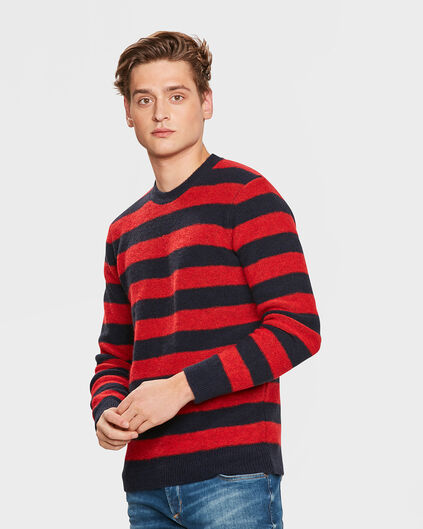 HEREN BRUSHED STRIPE TRUI Rood