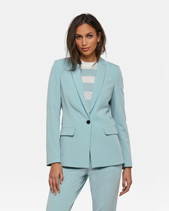 Dames regular fit blazer met stretch Pastelblauw